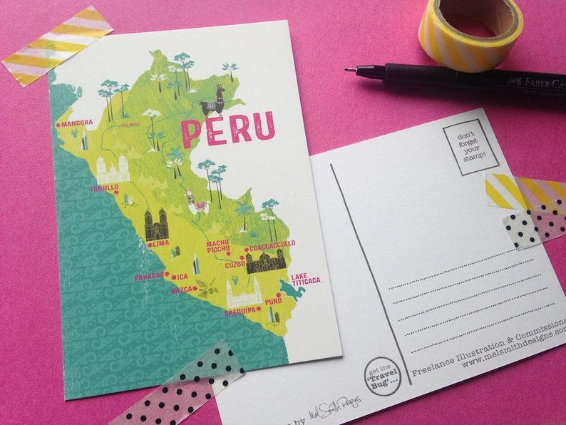 282f42876e Peru Postcard / Illustrated Map / Travel Stationery / Travel | Etsy