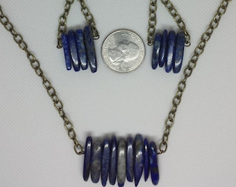 Lapis Lazuli Shard Necklace with Bronze Chain