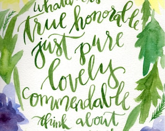 Hand lettered watercolor 8x10 print of Lord of Philippians scripture