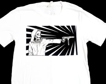 Grim Reaper Tech 9 Gun T-Shirt - Original silk-screened design - Unisex Mens Womens