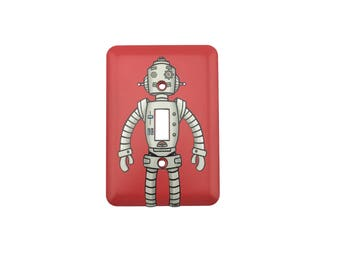 Robot Sticker Decal Light Switch Plate Combo