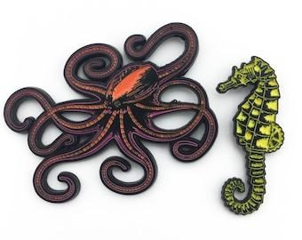 Robotic Aquatic Enamel Pin Set - Robot Octopus and Seahorse - Limited Edition Collector Art Pins
