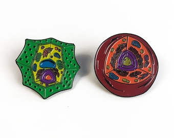 Plant & Animal Cell Pin Set - Soft Enamel Collector Art Science Pin