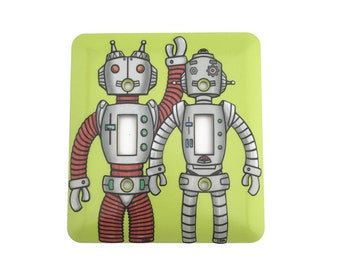 Robot Light Switch Cover for double switch - Two robots