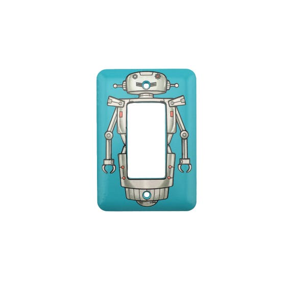 Robot Light Switch Plate - For Modern, Rocker or Dim switch