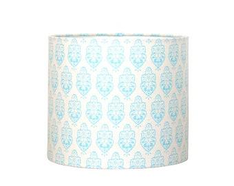 Lamp Shade - Drum Lampshade - Sky Blue Medallion Lampshade - Nursery Lighting - Girls Lamp Shade - Cottage Style