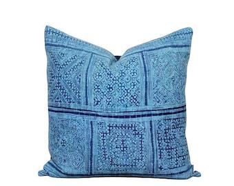 Blue Hmong Pillow - Indigo Pillow Cover - Hmong Cushion - Vintage Fabric - Modern Rustic Decor - 20 Inch Pillow