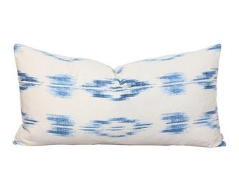 Blue Ikat Decorative Pillow - Lumbar Pillow Cover - Throw Pillows - Blue Pillow -  Modern Boho Decor