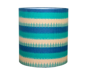 Blue Lamp Shade - Drum Lampshade - Hand Printed Fabric - Medium Drum Shade - Bohemian - Modern Blue Decor