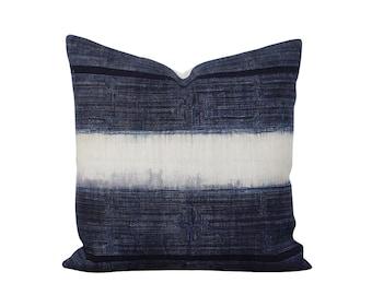 Hmong Pillow - Indigo Batik Hand Dyed - Boho Pillow - Indigo Pillow Cover - Hemp Fabric - Vintage Cushion - Modern Rustic