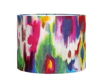 Abstract Watercolor Drum Lampshade - Linen Fabric Lamp Shade - Colorful Pendant Lighting - Custom Lamp Shade - Contemporary Decor