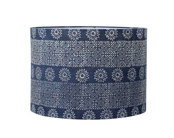 Blue Hmong Lamp Shade - Indigo Batik Drum Lampshade - Custom Lampshades - Bohemian Style - Blue Geometric Floral