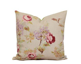 Floral Pillow - Shabby Chic - Linen Pillow - Cottage Style Pillow - Throw Pillow - Taupe and Pink - Sofa Pillow - Pink Roses