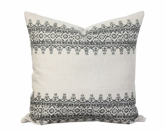Isfahan Stripe Pillow Cover in Charcoal Gray - Decorative Throw Pillow - Peter Dunham Fabric - French Country Decor - Bohemian
