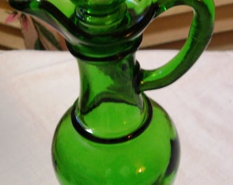 Emerald Green - Lovely Vintage Tall Glass Cruet - Vanity Bottle - 1970 Era (Credit Cards Accepted)