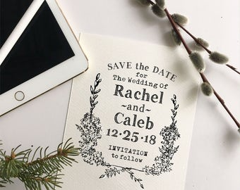 Emma Series Save the Date Rubber Stamp