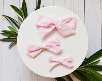Ballet Pink Hand-tied Simple Fabric Double Gauze Bow Nylon or Clip