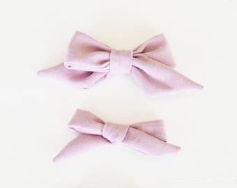 Mauve Linen Hand-tied Simple Fabric Bow Nylon Elastic or Alligator Clip