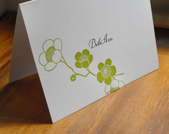 Peony branch personalized notecard set