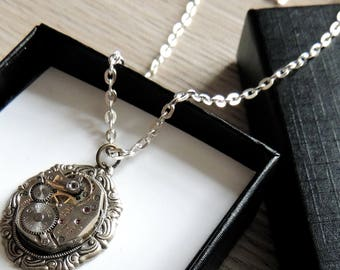 Silver Steampunk Necklace / watch movement necklace / clockwork necklace