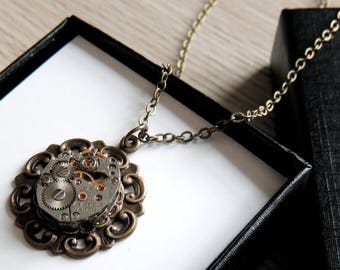 Antiqued Brass Steampunk Necklace / watch movement necklace / clockwork necklace