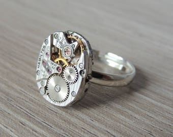 Steampunk ring // watch movement ring // Hamilton watch movement