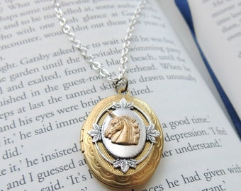 unicorn locket // brass unicorn necklace