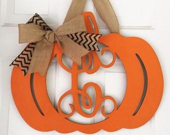 Unfinished Wood Pumpkin Thanksgiving Door Hanger Vine Monogram in 17.5 x 22 inch