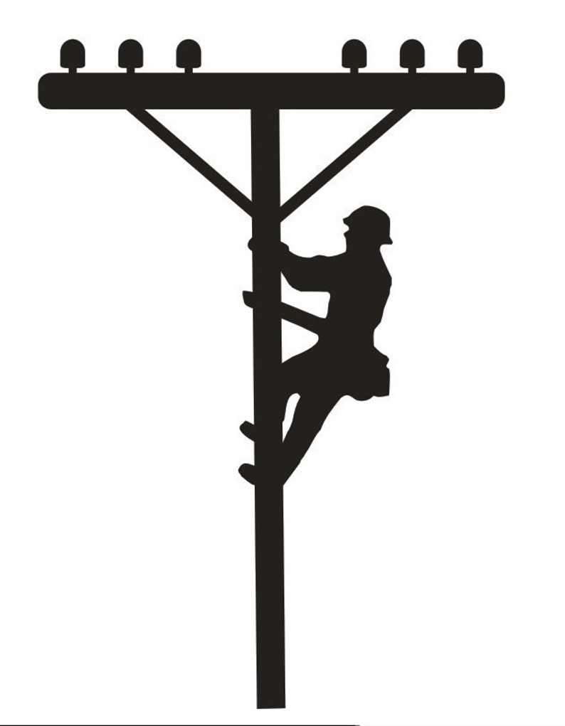 Unfinished Wood Power Lineman on pole 20 inch tall image 0