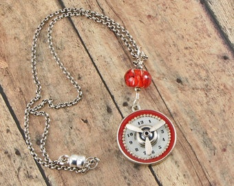Steampunk Watch Face Spinning Propeller Necklace, Found Object Jewelry, Art Jewelry Necklace, Lampwork Bead, Silver, White & Red Necklace