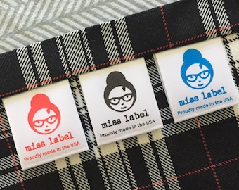 """Custom Sew-in soft Satin Clothing care labels printed in USA --1 1/4"""" 33mm - Super fast shipping!"""