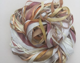 Silk Ribbon Remnants - Cream, Brown and Gold