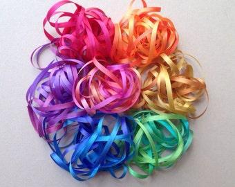 Bright Rainbow Mix - 14 metres of 3.5mm silk ribbon