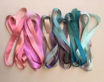 Amethyst Mix - 6 metres of 13mm silk ribbon