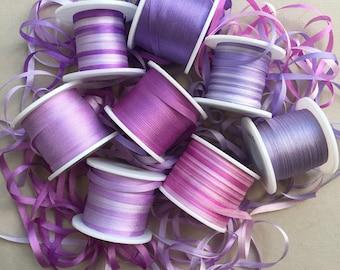 Petunia Mix - 16 metres of 3.5mm silk ribbon