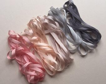 Pink and Grey Mix - 10 metres of 7mm silk ribbon