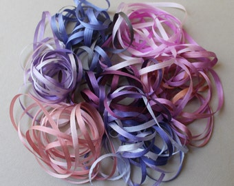 Boysenberry Mix - 14 metres of 3.5mm silk ribbon