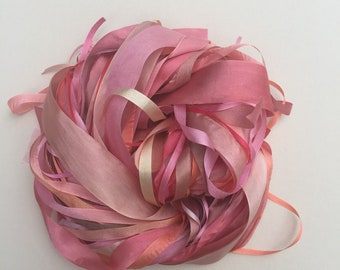 Silk Ribbon Remnants - Pink, cream, peach and apricot