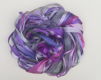 Silk Ribbon Remnants - Purple and Grey