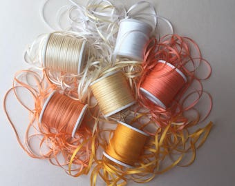 Orange, Yellow, Cream and White mix - 18 metres of 2mm solid colour silk ribbon