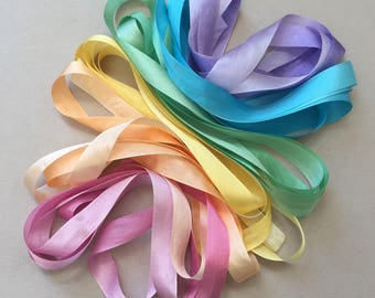 Pastel Rainbow Mix - 6 metres of 13mm silk ribbon