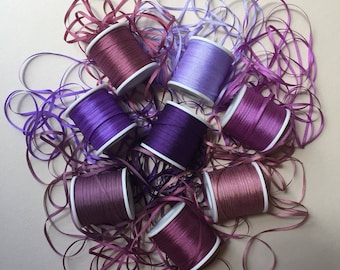 Purple and Mauve mix - 24 metres of 2mm solid colour silk ribbon