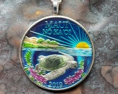 Maui - Turtle Coin Pendant. Artist Hand Painted. Leslie Collection - Limited Edition