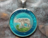 Liberia - Elephant Coin Pendant. Artist Hand Painted. Leslie Collection - Limited Edition Keepsake