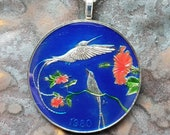 Jamaica - Hummingbird Coin Pendant. Artist Hand Painted. Leslie Collection - Limited Edition Keepsake