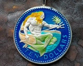 Barbados - Neptune Coin Pendant. Artist Hand Painted. Leslie Collection - Limited Edition Animal Jewelry Keepsake