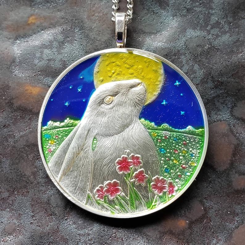 Moon Gazer Rabbit Silver Coin Pendant  Lisa Parker Coin image 0