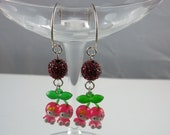 Hello Kitty Cherry Bomb Necklace, green enamel chain, green Swarovski crystals, red Swarovski pearls, EARRINGS ARE INCLUDED Great gift