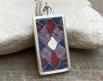 Mosaic Pendant Geometric Silver Necklace - Purple Stone Enamel Tesserae Framed in Silver - Ancient Mosaic Jewelry