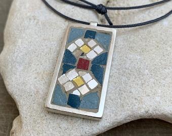 Micro-Mosaic Necklace - Geometric Pendant - Stone Enamel Tesserae in Solid Silver Frame - Greek Mosaic Jewelry